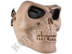 Skeleton full face airsoft safety mask with metal mesh eye protection desert tan